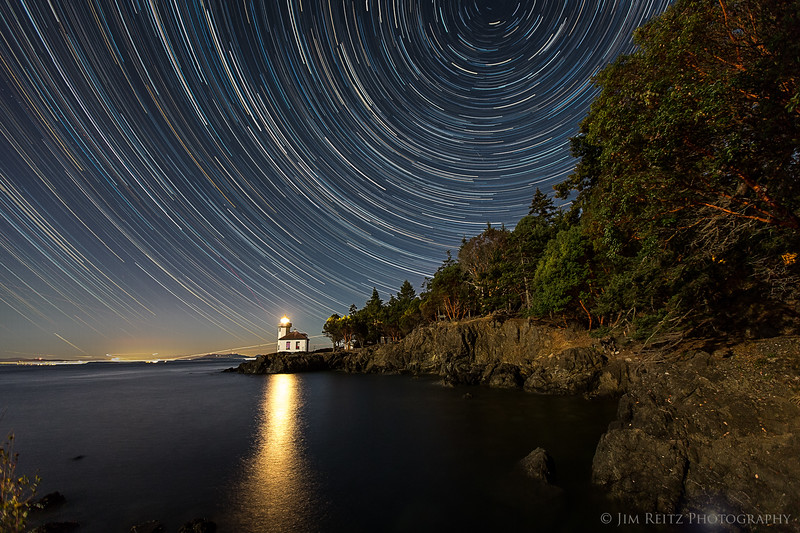 Star trails captured over Lime Kiln Point lighthouse, San Juan Island, Washington