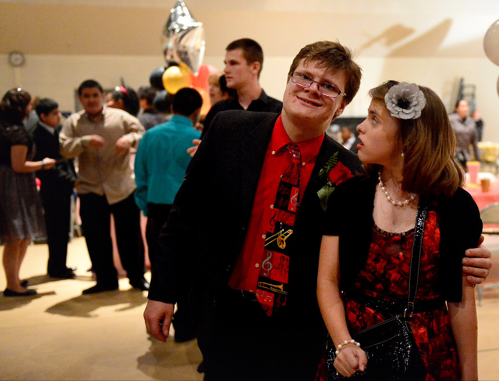 . Andrew Manson and Breanna Harmeyer dance during Glendora High School\'s Best Buddies Prom for high school students with special needs Friday night, April 19, 2013 at the Glendora campus. (SGVN/Staff Photo by Sarah Reingewirtz)