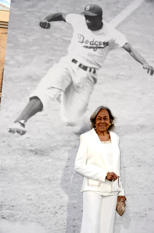 """. Rachel Robinson, Jackie Robinson\'s widow arrives at the premiere of Warner Bros. Pictures\' and Legendary Pictures\' \""""42\"""" at the Chinese Theatre on April 9, 2013 in Los Angeles, California.  (Photo by Kevin Winter/Getty Images)"""