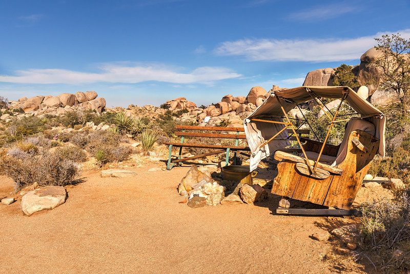 Wooden seats in the desert