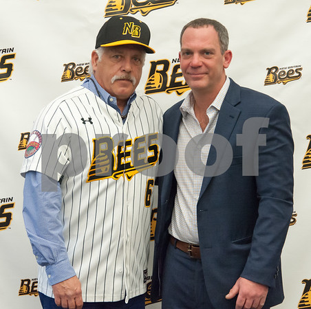 01/11/18 Wesley Bunnell | Staff Former major leaguer Wally Backman was officially introduced as the 2nd New Britain Bees Manager on Thursday afternoon at New Britain City Hall. Bees Manager Wally Beckman and Bees owner Anthony Iacovone.