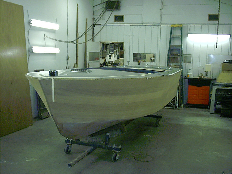 Front port view of boat right side up.