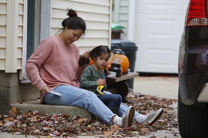 Girls in leaves
