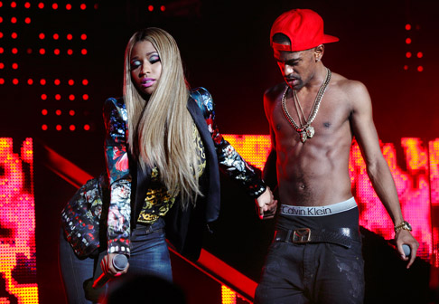 Description of . Big Sean on stage with his Nicki Minaj at DTE Energy Music Theatre on Saturday, Aug. 31, 2013. Photo by Ken Settle