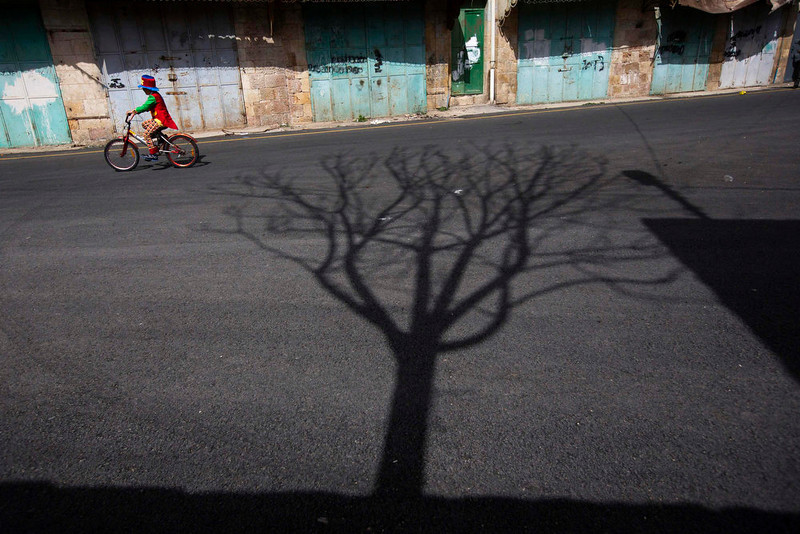 . A young Jewish settler, dressed in costume, rides a bicycle during a parade for the holiday of Purim in the West Bank city of Hebron February 24, 2013. Purim is a celebration of the Jews\' salvation from genocide in ancient Persia, as recounted in the Book of Esther. REUTERS/Ronen Zvulun