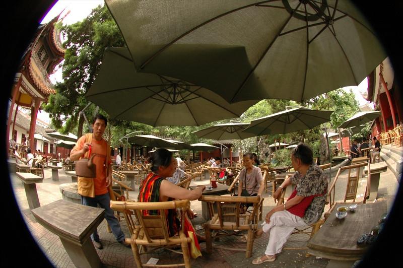 Fisheye: At the Chinese Teahouse - Chengdu, China