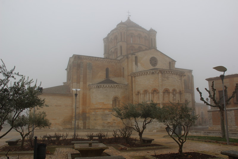 Fog surrounds the medieval building, Colegiata on a visit to Toro Spain.