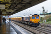 8th Dec 2016:  Even on a very mizley day idiots will alway go out for a fot (me included).  66749 gets underway from Westbury with 20 IOAs in tow to get them refilled with ballast from the Stud Farm quarry in Leicestershire