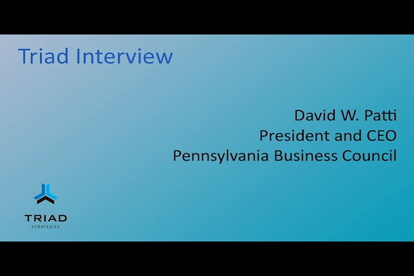 Triad Strategies' Tony May sat down with David W. Patti, President and CEO of the Pennsylvania Business Council and discussed the impact of legal reform on Pennsylvania's economy - February 9, 2011 - Part 1 of 6 - On PA's Business Climate