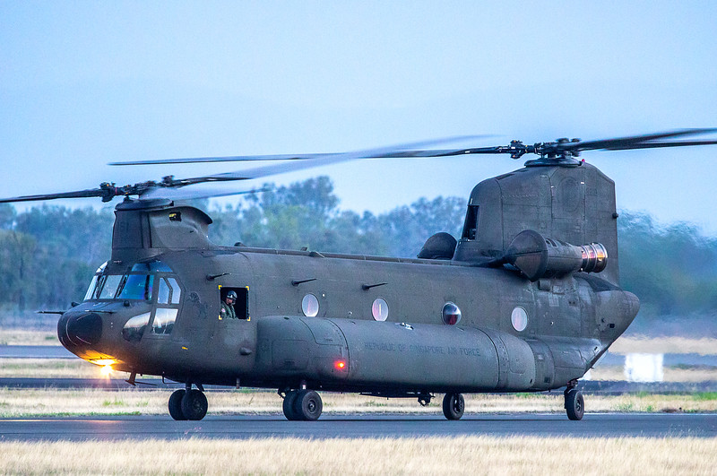 Exercise Wallaby 2019 - Republic of Singapore Air Force CH-47D Chinooks and AS332M Super Pumas return to Rockhampton Airport.