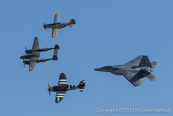 HERITAGE FLIGHT - Planes of Fame 2014 Airshow - Chino, CA
