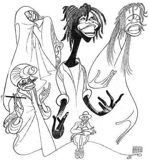 Description of . This undated image provided by the New York Public Library shows a drawing of Whoopi Goldberg by caricaturist Al Hirschfeld, for a poster of her 1984 one-woman Broadway show. It is part of a new exhibition on Hirschfeld,