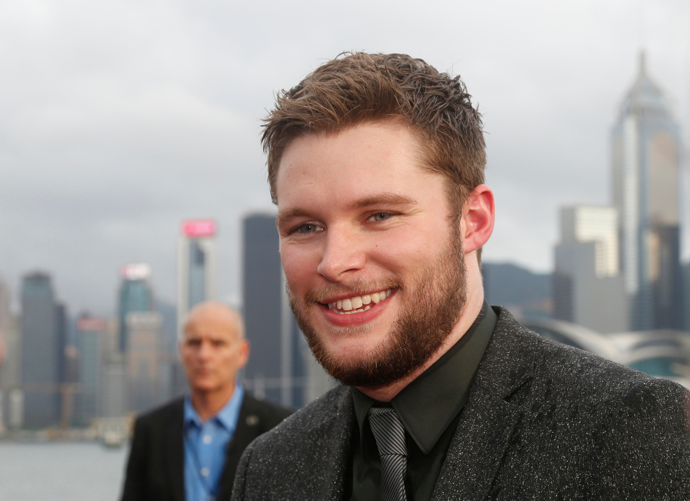Description of . American Actor Jack Reynor poses on the red carpet as he arrives for the World Premiere of the movie