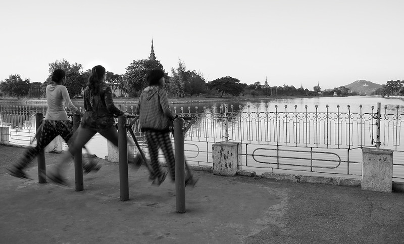 The canal around the Mandalay palace is a popular place for locals to walk and exercise.  Mandalay, Myanmar,,2017