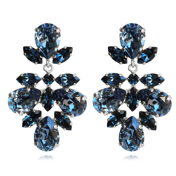 Selene Earrings / Denim Blue + Montana / Rhodium