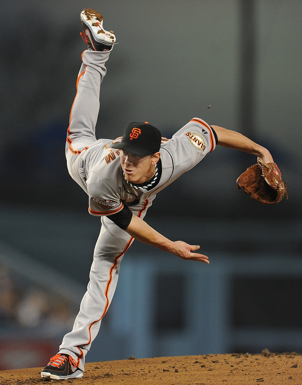 . San Francisco Giants starting pitcher Tim Lincecum throws to the plate in the first inning of their baseball game against the Los Angeles Dodgers on Wednesday, April 3, 2013 in Los Angeles. 
