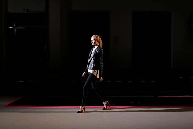 . A model walks during a rehearsal before the presentation of Belgian designer Cedric Charlier Fall-Winter 2013/2014 women\'s ready-to-wear fashion collection during Paris fashion week February 26, 2013. REUTERS/Benoit Tessier