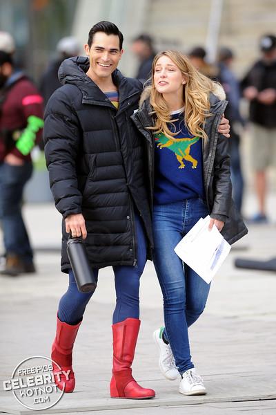 Melissa Benoist Fashions Dinosaur Sweater With Superman Tyler Hoechlin!