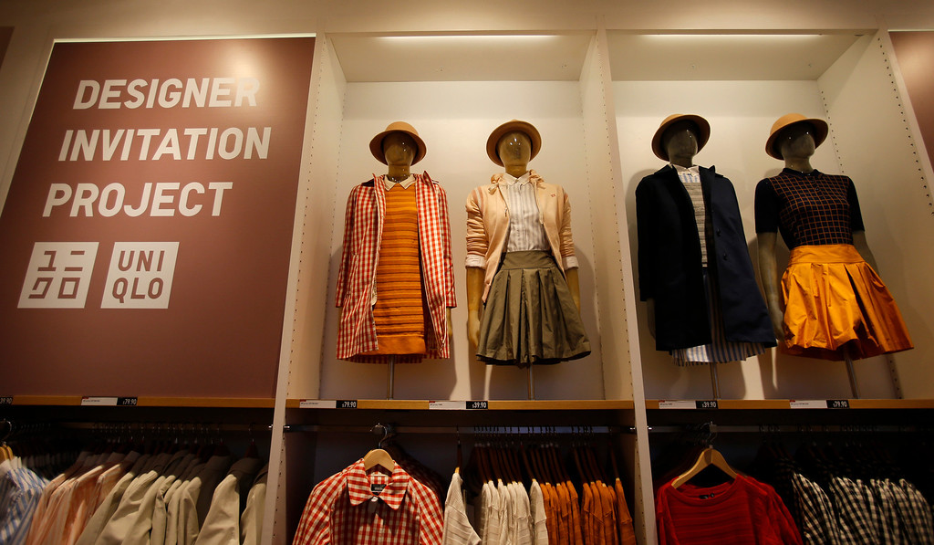 ". Mannequins display the ""Designer Invitation Project\"" on the upper floor of the Uniqlo clothing store on Powell St. in downtown San Francisco, Calif. on Thursday, Jan. 17, 2013.  They opened their store in San Francisco in October 2012.  (Nhat V. Meyer/Staff)"