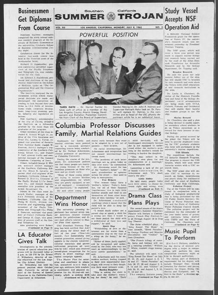 Summer Trojan, Vol. 12, No. 5, July 09, 1962