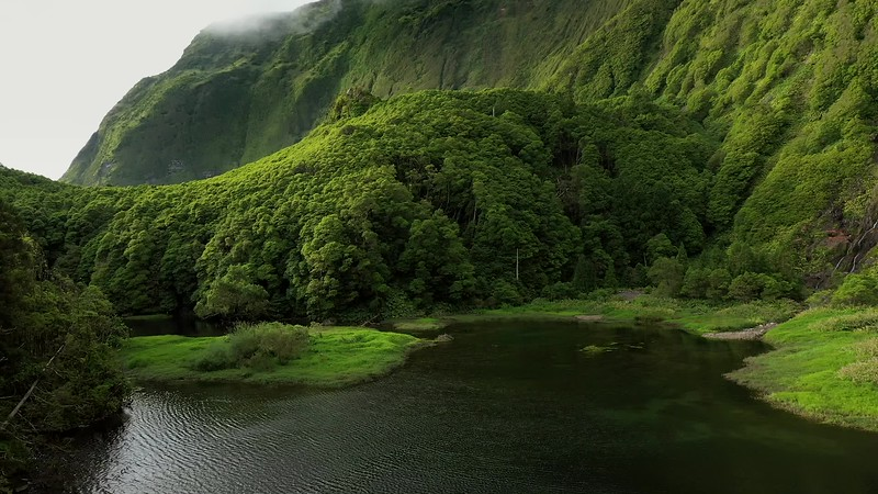 Available in 4k - Aerial video clip showing a landscape during sunset over Poço Ribeira do Ferreiro waterfalls at the Ilha das Flores island on the Azores, Portugal