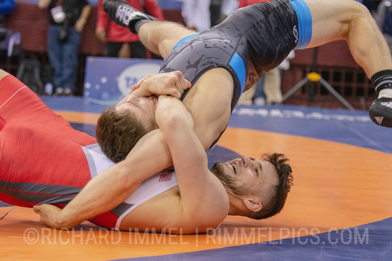 77 kg: Jake Fisher (Curby 3 Style Wrestling Club) tech. fall Peyton Walsh (Marines), 10-2