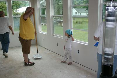 Helping paint at Nana and Poppy's