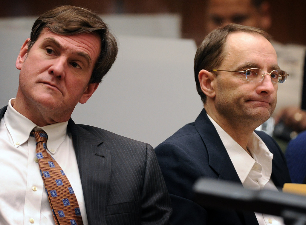 ". R. Bradford (Brad) Bailey, attorney, left with his clientChristian Gerhartsreiter at the murder trial of Christian Gerhartsreiter, 52,  known as ""Clark\"" Rockefeller on the second day of the trial onTuesday, March 19, 2013 at Clara Shortridge Fortz Criminal Justice Center in Los Angeles.  Gerhartsreiter is a German immigrant who masqueraded as a member of the Rockefeller family. He is charged with murder of John Sohus, 27, whose bones were unearthed from the backyard of the home in San Marino, California, in 1985.  Sohus\' wife, Linda, has never been found. (SGVN/Photo by Walt Mancini/LANG)"