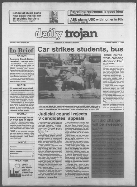 Daily Trojan, Vol. 108, No. 46, March 21, 1989