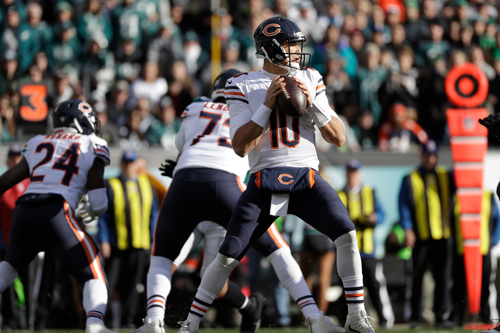 . Chicago Bears\' Mitchell Trubisky in action during the first half of an NFL football game against the Philadelphia Eagles, Sunday, Nov. 26, 2017, in Philadelphia. (AP Photo/Michael Perez)