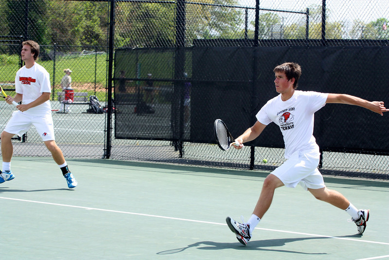 Matthew Parker and Ernest Alberch during Sunday's Tennis match against SC State