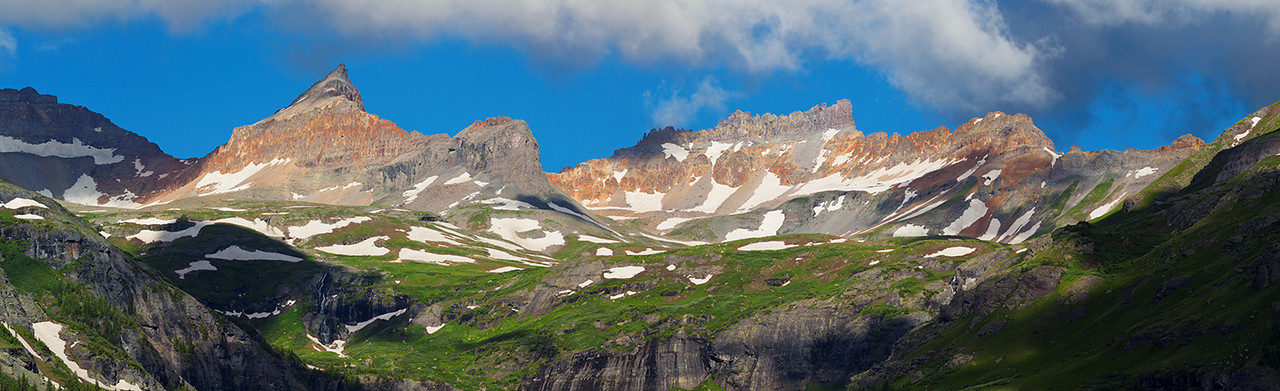 (Golden Horn Pano 2)  Golden Horn and Pilot Knob rise above Ice Lake Basin near Silverton.