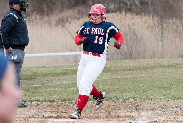 04/02/19 Wesley Bunnell | Staff St. Paul softball defeated Ansonia at home on Tuesday afternoon. Carolyn Marchak (19)