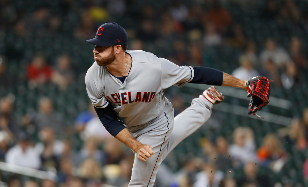 . Cleveland Indians relief pitcher Zach McAllister (34) throws against the Detroit Tigers in the eighth inning of a baseball game in Detroit, Monday, May 14, 2018. (AP Photo/Paul Sancya)
