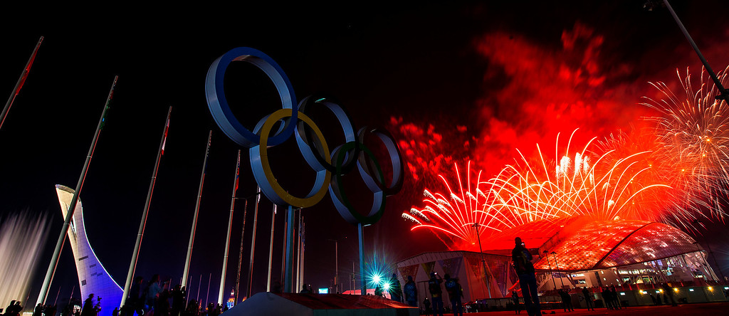 . Fireworks explode during the Closing Ceremony of the 2014 Sochi Olympics outside of Fisht Olympic Stadium Sunday February 23, 2014.  (Photo by Chris Detrick/The Salt Lake Tribune)