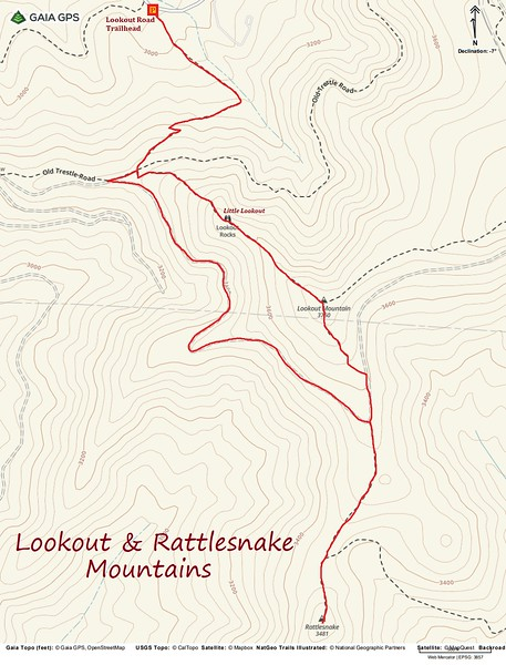 Lookout & Rattlesnake Mountain Hike Route Map