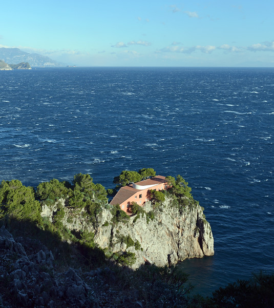 Villa Malaparte (1937) at Punta Massullo on Capri, with the Amalfi coast in the background, Italy