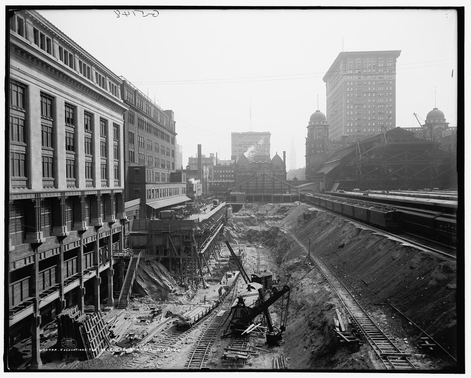 . Excavation work at the site of Grand Central Station in New York 1908. It made its debut in the heyday of cross-country train travel, faced demolition in the era of the auto, and got a new lease on life with a facelift in its eighth decade. Now Grand Central Terminal, the doyenne of American train stations, is celebrating its 100th birthday. Opened on Feb. 2, 1913, when trains were a luxurious means of traveling across America, the iconic New York landmark with its Beaux-Arts facade is an architectural gem, and still one of America\'s greatest transportation hubs. REUTERS/Courtesy of the Library of Congress/Handout