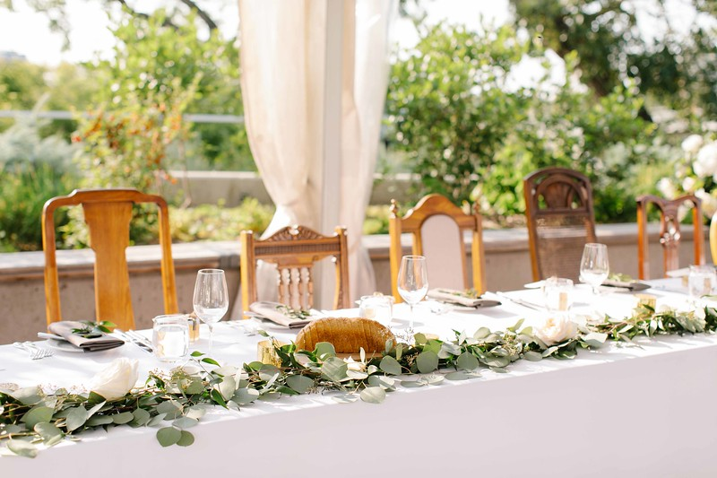 Head Table with Antique Chairs in the Deane Garden