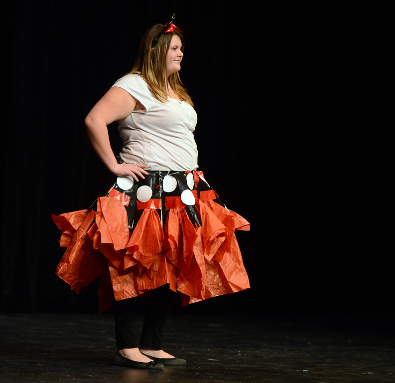 . Guila Vardenega is inspired by Minnie Mouse in her design at the third annual Paper Skirt Fashion Show held at Liberty High School in Brentwood, Calif.  on Tuesday, Jan. 29, 2013. (Susan Tripp Pollard/Staff)
