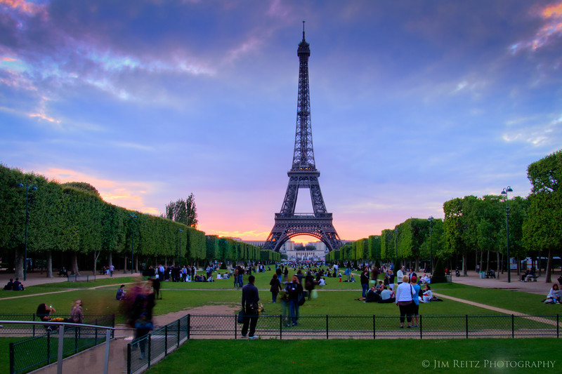 Eiffel Tower at sunset, view from Champ de Mars.