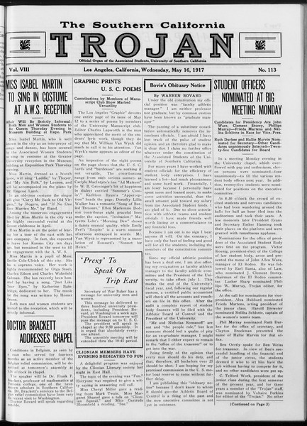 The Southern California Trojan, Vol. 8, No. 113, May 16, 1917