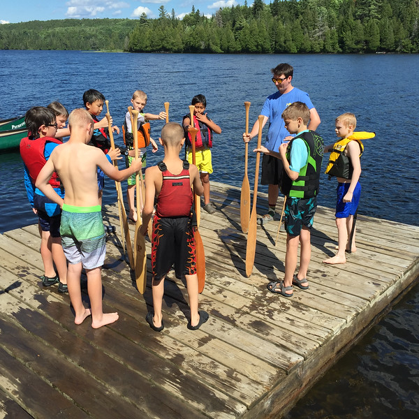 Campers learn the parts of a paddle and canoe...