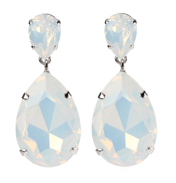 Perfect Drop Earrings / White Opal (Rhodium)