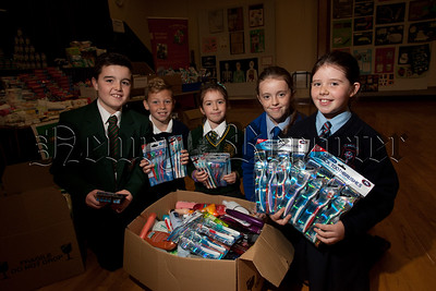 Pupils from St joseph's Boys' High School newry joined forces with local Primary schools in the Area to raise much needed items for the Refugee Crisis in conjunction with Newry Lions Club. Pictured are Ben Rafferty (St Jospeh's HS), Calum Brady (Ballyholland PS), Eimear McAlinden (St Patrick's PS), Sienna McGurgan (St Clare's Abbey PS) and Chantelle McCreesh (St Malachy's PS Carnagat). R1539027