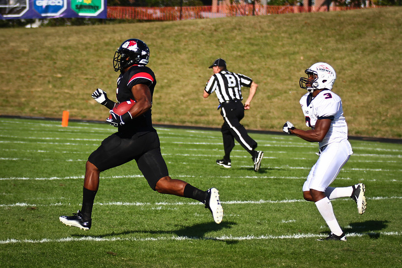 Kenny Little made a huge run down the field giving Gardner-Webb a much needed 1st down.  photo by Bryan Cooper