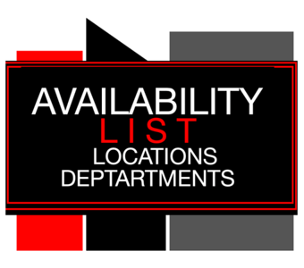 AVAILABILITY LIST LOCATIONS  DEPARTMENT