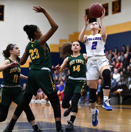 2/26/2020 Mike Orazzi | StaffrSt. Paul Catholic High School's Kailyn Bielecki r (2) during Wednesday night's CCC girls basketball tournament with Holy Cross at Kennedy High School in Waterbury.