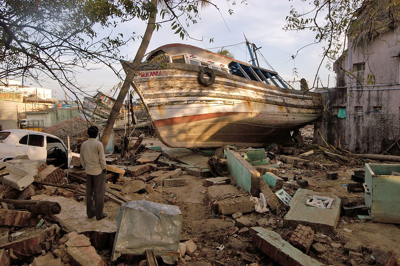 . Boats sit on dry land Jan. 3, 2005 in Nagapattinam, India after being tossed by the Indian Ocean tsunamis that claimed over 9,500 lives in India alone.  (AP Photo/Philip Maher/World Vision/HO)