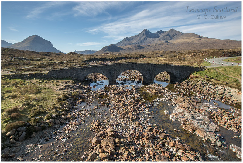 The old bridge at Sligachan, with Marsco and Sgurr nan Gillean in background